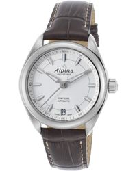 Alpina - Women's Comtesse Automatic Dark Grey Genuine Leather Silver-tone Dial - Lyst