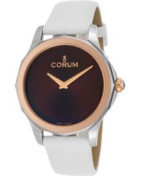 Corum - Women's Admiral's Cup Legend White Leather Brown Dial 18k Rg Bezel - Lyst