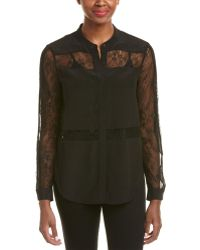Chelsea and Walker - Lace-inset Silk Blouse - Lyst