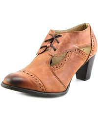 All Black - Cutaway Bootie Women Round Toe Leather Brown Oxford - Lyst