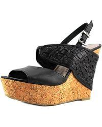 Elliott Lucca - Gianna Open Toe Leather Wedge Sandal - Lyst