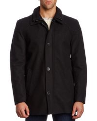 Vince Camuto - Black Melton Car Coat With Quilted Bib - Lyst