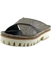 All Black - Pressed Cross Lugg Sandal Open Toe Leather Slides Sandal - Lyst