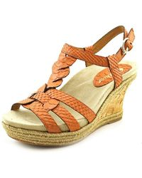Earthies - Corsica Women Open Toe Leather Wedge Heel - Lyst