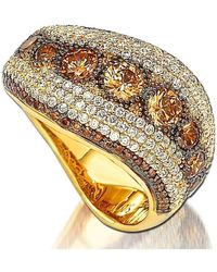 Suzy Levian - Golden Sterling Silver Brown Cubic Zirconia Ring - Lyst