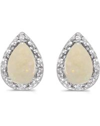 Amanda Rose Collection - 14k White Gold Pear Opal And Diamond Earrings - Lyst