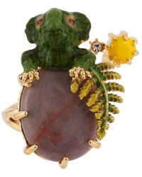 Les Nereides - Ostentatious Obscurity Baby Dinosaur And Pink Stone Adjustable Ring - Lyst
