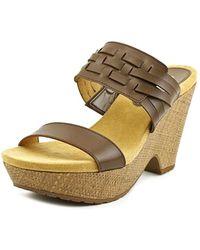 Chaps - Jaslyn Women Open Toe Synthetic Brown Wedge Sandal - Lyst