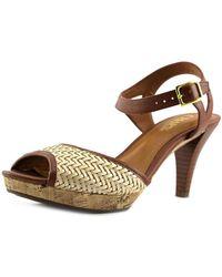 Chaps - Marilynn Women Open Toe Leather Tan Sandals - Lyst
