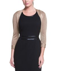 Carmen Marc Valvo - Gold Metallic Shrug - Lyst