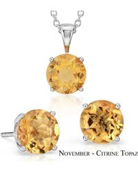Suzy Levian - 18k Goldplated Sterling Silver 3ct Aqua Topaz March Birthstone Set Made With Swarovski Gemstones - Lyst