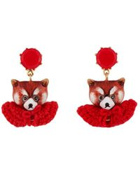 Les Nereides - Kind And Happy Leonie The Red Panda Wearing Her Red Cape Clip Earrings - Lyst