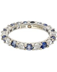 Suzy Levian - Sterling Silver Blue & White Sapphire & Diamond Accent Eternity Ring - Lyst