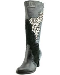 Very Volatile - Stampede Women Round Toe Leather Black Knee High Boot - Lyst