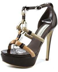 Giancarlo Paoli - 3083 Open Toe Patent Leather Platform Sandal - Lyst