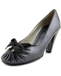 Maloles - Gina Women Round Toe Leather Black Heels - Lyst