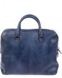Orciani - Men's Blue Leather Briefcase - Lyst