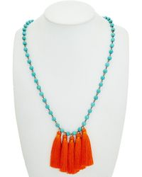 Mad Jewels - Turquoise & Silk 32in Tassel Necklace - Lyst