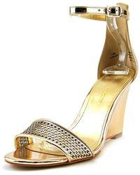 Enzo Angiolini - Raledy Open Toe Synthetic Wedge Sandal - Lyst