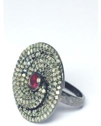 Vanhi - 2.15 Cts Genuine Pave Diamond And 0.20 Cts Ruby Round Sterling Silver Ring Band - Lyst