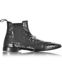 Cesare Paciotti - Black Python Leather Low Boot - Lyst