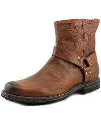Frye - Phillip Lug Harness Round Toe Leather Boot - Lyst