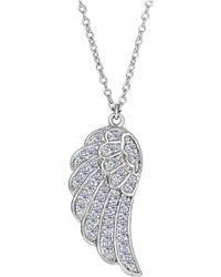 Jewelry Affairs - Sterling Silver Angel Wing Pendant Cz Fashion Necklace, 18 - Lyst