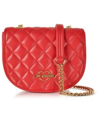 Love Moschino - Women's Red Faux Leather Shoulder Bag - Lyst