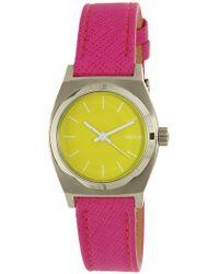 Nixon - Women's Time Teller A5092081 Silver Leather Japanese Quartz Fashion Watch - Lyst