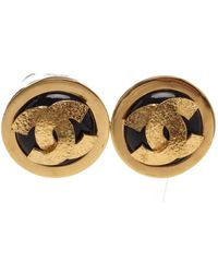 Chanel - Pre Owned- Black Gold Cc Logo Clip On Disc Earrings - Lyst