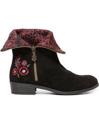 Desigual - Women's Black Suede Ankle Boots - Lyst