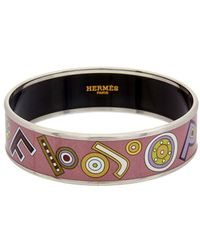 Hermès | Purple Printed Enamel Wide Bangle | Lyst