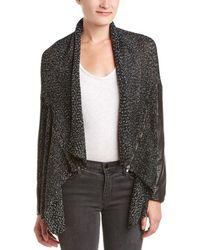 Michael Stars - Leather-trim Wool-blend Cardigan - Lyst