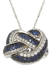 Suzy Levian - Sterling Silver And 18k Gold Sapphire And Diamond Love Knot Pendant - Lyst