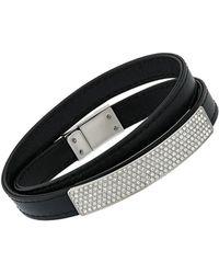 Swarovski - Crystal Vio Plated Wrap Leather Bracelet - Lyst