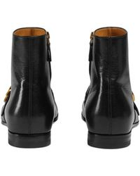 995800fee8a5c Lyst - Gucci Black Guccissima Rubberized Leather Lace Up Boots in ...