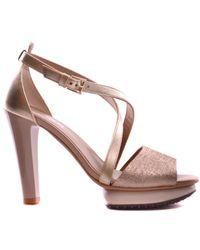 Hogan - Women's Mcbi148196o Gold Leather Sandals - Lyst
