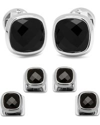 Ox and Bull Trading Co. - Faceted Onyx Cushion Stainless Steel Stud Set - Lyst