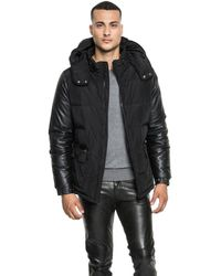Lamarque - Chase Hooded Down Jacket With Leather Sleeves - Lyst