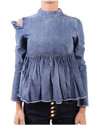 WÅVEN - Women's Blue Cotton Blouse - Lyst