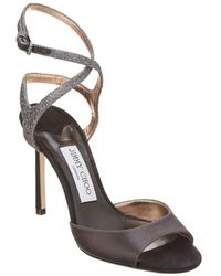 Jimmy Choo - Helen 100 Satin & Glitter Fabric Sandal - Lyst