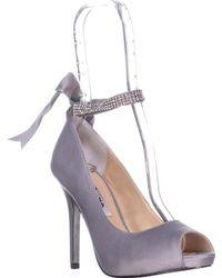 Nina - Karen Rhinestone Ribbon Ankle-strap Pumps, Royal Silver - Lyst