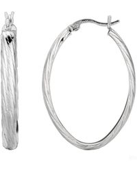 Jewelry Affairs - Sterling Silver Rhodium Finish Shiny Textured Finish Oval Hoop Earrings - 35 Mm Diameter - Lyst