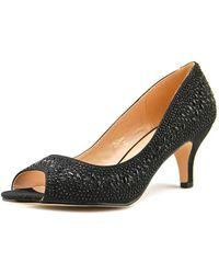 De Blossom Collection - Bertha-8 Women Peep-toe Synthetic Black Heels - Lyst