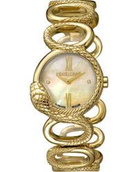 Roberto Cavalli - Women's Gold Mop Dial Stainless Steel Watch - Lyst