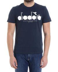 Diadora - Women's Blue Cotton T-shirt - Lyst
