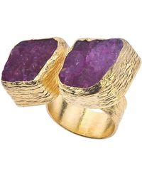 Jewelista - 18k Gold Plate & Cherry Druzy Floating Ring - Lyst