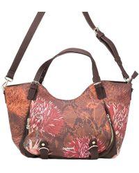 Desigual - Women's 18waxpd9brown Brown Polyester Shoulder Bag - Lyst
