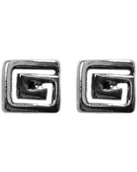 Jewelry Affairs - Sterling Silver Rhodium Plated Greek Meandros Key Stud Earrings, 6 X 6mm - Lyst