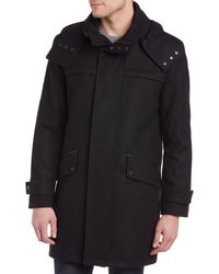 Cole Haan - Melton Wool-blend Leather-trim Coat - Lyst